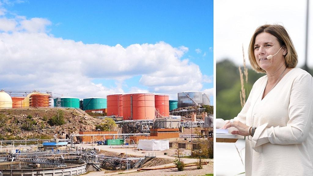 Bildmontage som visar Preemraff i Lysekil och miljöminister Isabella Lövin (MP)