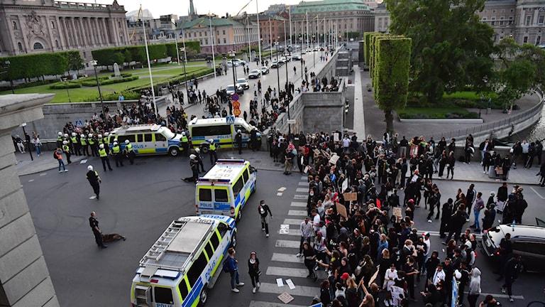 Protester i Stockholm.