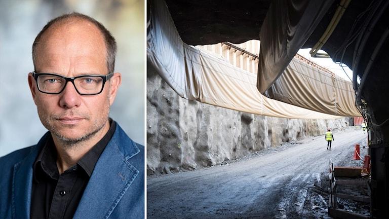 Johan Brantmark på Trafikverket och Förbifart Stockholms tunnelbygge i Vinsta.