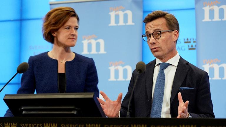 Moderaternas partiledare Anna Kinberg Batra och partiets ekonomisk-politiske talesperson Ulf Kristersson