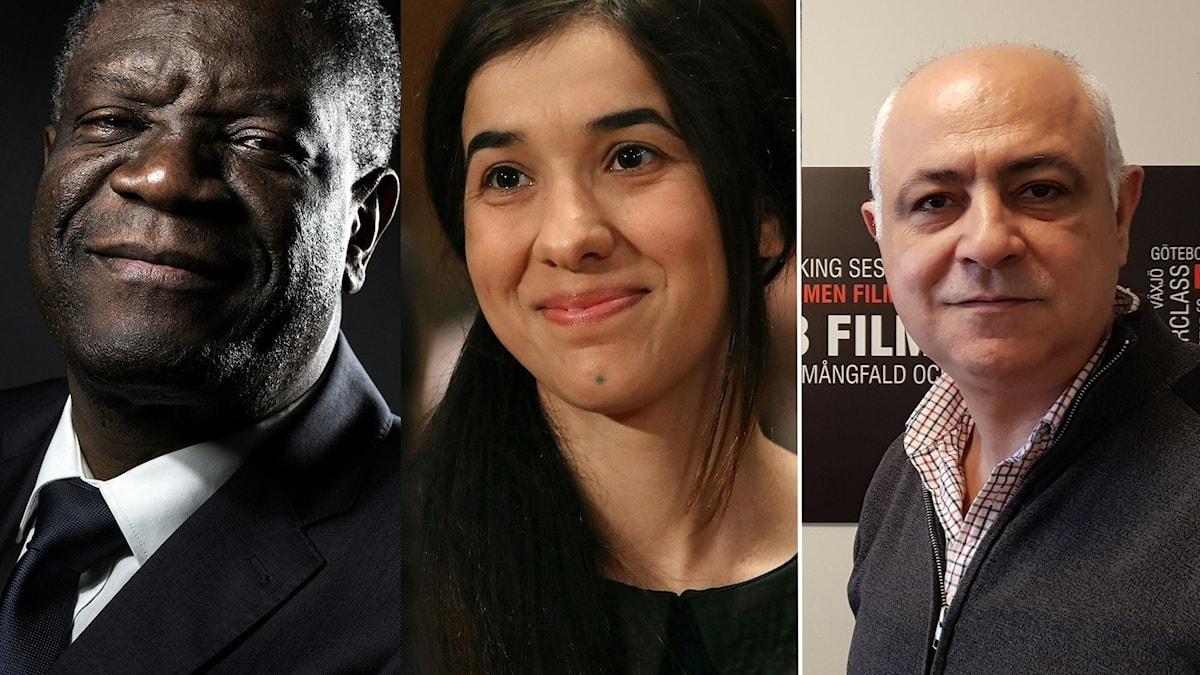 محمد القبلاوي رئيس مهرجان مالمو للسينما العربية، نادية مراد ودينيس موكويغي الحاصلان على جائزة نوبل للسلام 2018