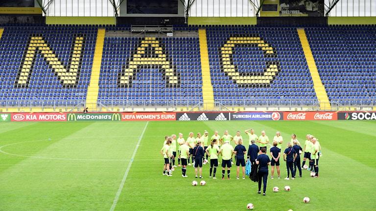 Svenska EM-laget på Stadion