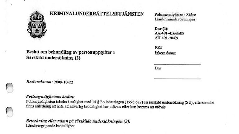 من قرار بوليس سكونه حول سجل الرومر، صورة من القرار