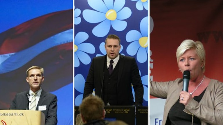 """ماتياس كارلسون من """"حزب ديمقراطيي السويد"""" متوسطا رئيسة """"حزب الشعب الدنماركي"""" ورئيس """"حزب التقدم"""" في النرويج"""