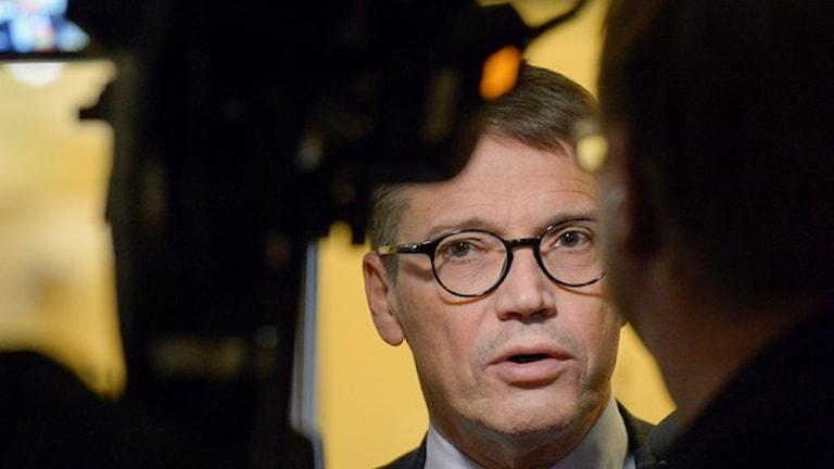 رئيس الحزب المسيحي الديموقراطي يوران هيغلوند. صورة: يانريك هانريكسون/ وكالة الأنباء السويدية.