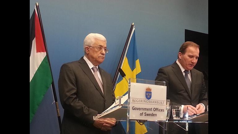 رئيس وزراء السويد ستيفان لوفين والرئيس الفلسطيني محمود عباس، ستوكهولم 2015. عدسة: طالب عبد الامير /الإذاعة السويدية