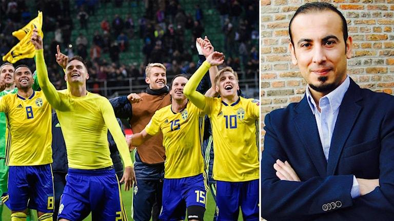 حسام الحمادة والمنتخب السويدي بعد تأهله لكأس العالم.