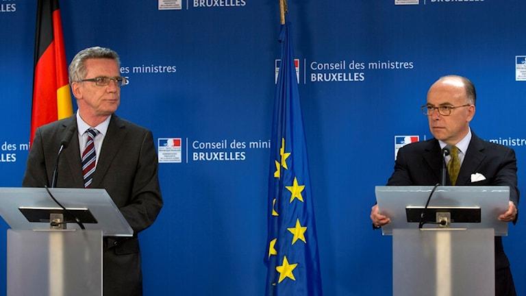 وزير الداخلية الفرنسي ووزير الداخلية الالماني في اجتماع وزراء دول أعضاء الاتحاد لمناقشة حصص استقبال اللاجئين