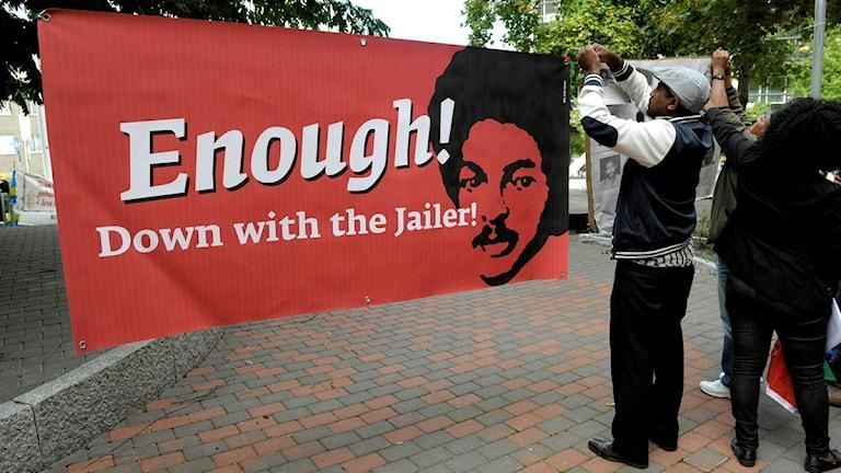 صورة من أحد الاعتصامات أمام السفارة الأريتيرية للمطالبة بحرية داوت إيساك
