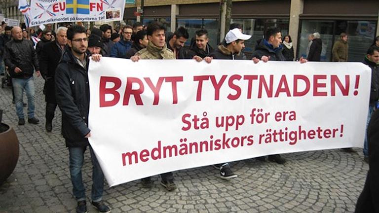 جانب من مظاهرة منددة بداعش، صورة سيمون بيورلينغ / راديو السويد