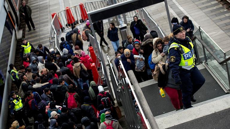 لاجئون في المحطة الرئيسية في مالمو، جنوب السويد. Foto: Johan Nilsson/TT.