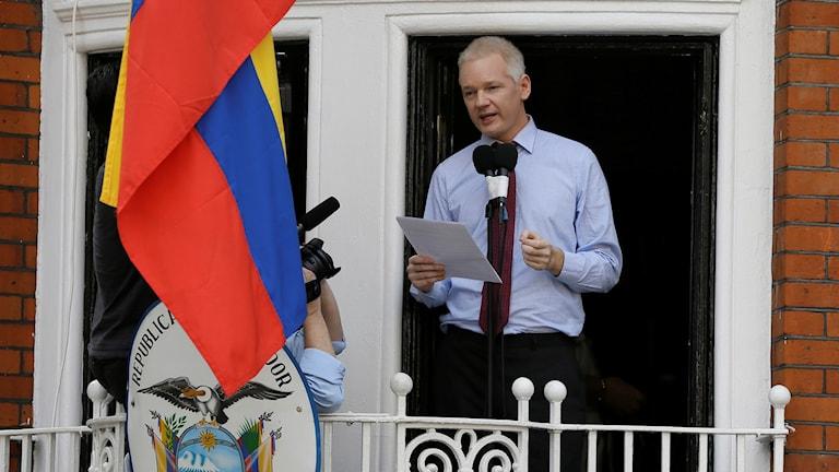 مؤسس الويكيليكس جوليان آسانج في سفارة الإكوادور في العاصمة البريطانية لندن. Foto: TT.