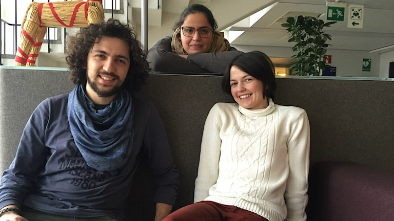 """F.v. Ibrahim Muhanna, May Alekhtyar, Satanay Doughouz. 3 syriska journalister som gör programmet """"Integrationen Inifrån"""" till Konflikt."""