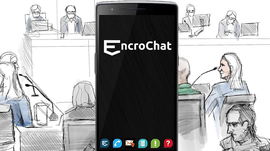 Rättsal Vårby och EncroChat-telefon