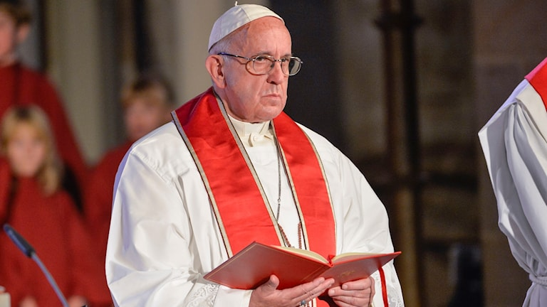 البابا فرانسيسكوس أثناء القداس في كتدرائية لوند.