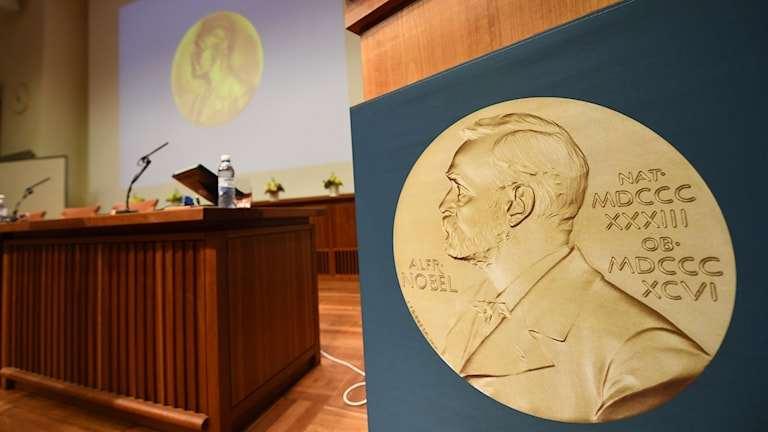 A medal of Alfred Nobel is pictured