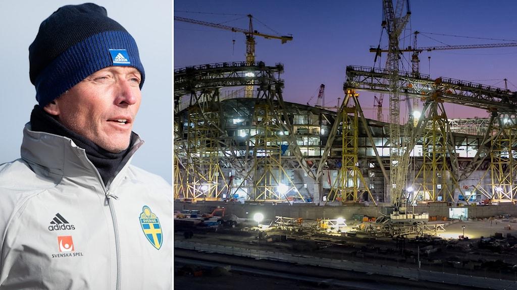 Håkan Sjöstrand samt arkivbild från arenabygge i Qatar.