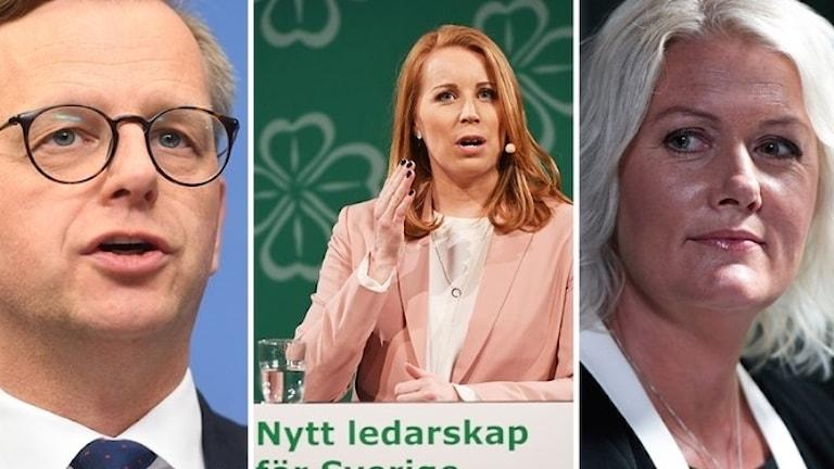 وزير الصناعة، ميكائيل دامبرغ، s آني لوف، سكرتيرة الحزب لينا رادستروم باستد.