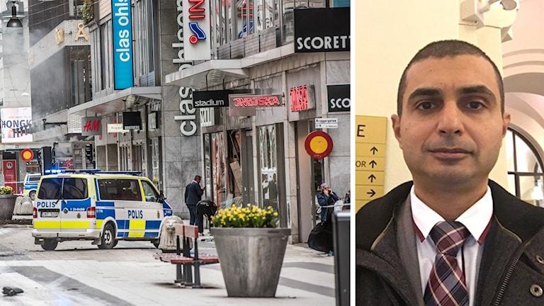 المحامي مجيد الناشي والى اليسار شارع دروتننغاتان الذي شهد الهجوم