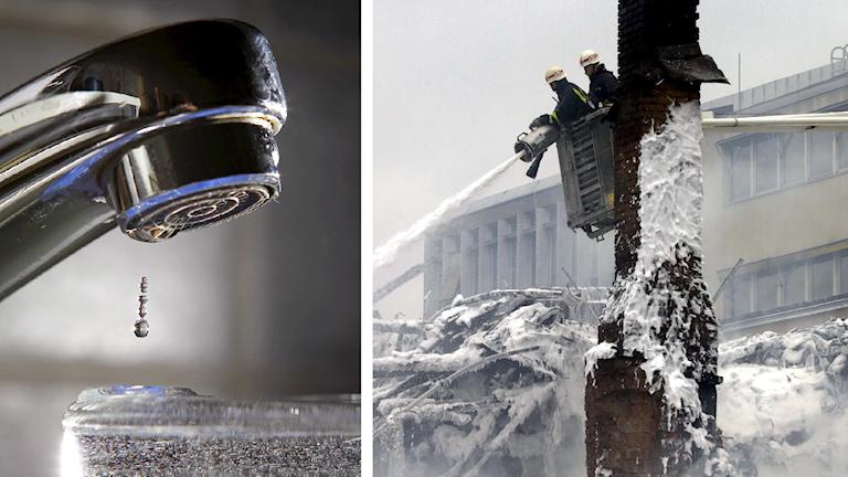 Montage. Kranvatten och brandmän som sprutar skum. Foto: Håkon Mosvold Larsen/TT och Lars Pehrson/TT.