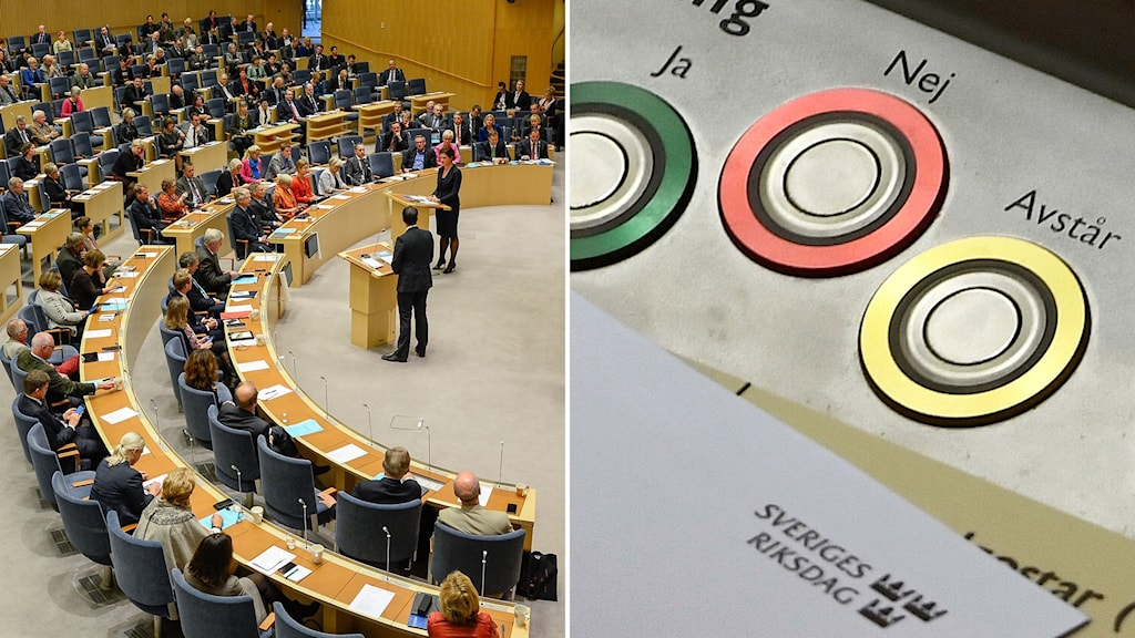 riksdagen och voteringsknappar