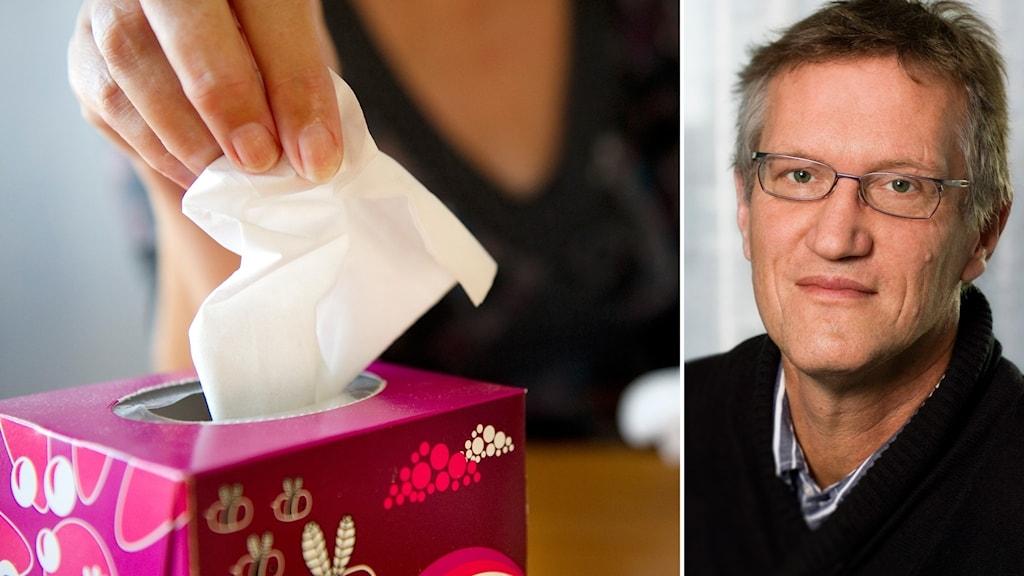 Bildkollage med en förkyld kvinna som tar en näsduk och Statsepidemiolog Anders Tegnell.