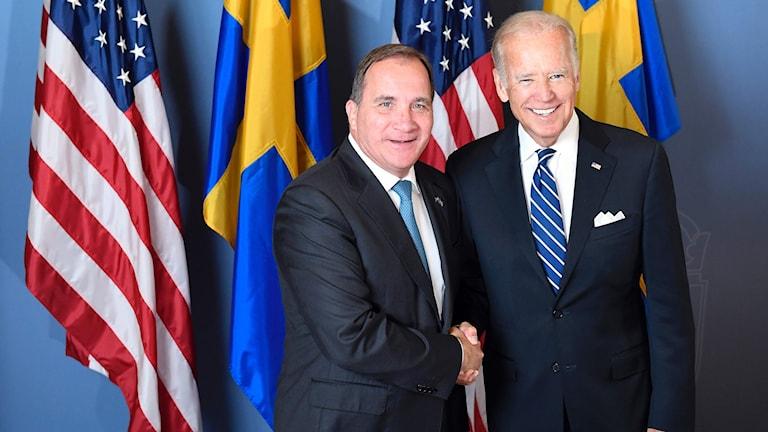 نائب الرئيس الأميركي جو بايدن ورئيس الوزراء السويدي ستيفان لوفين.