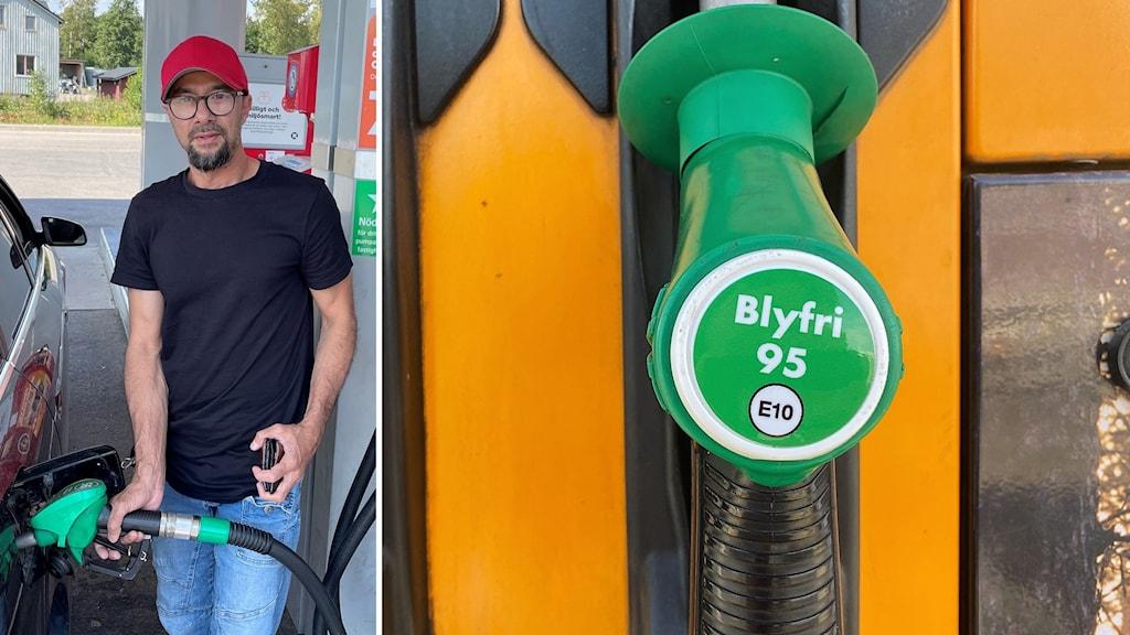 Bildsplit tillhöger Mohammed Badr står och tankar, till vänster en bild på den nya E10 etiketten på bensinpumparna.