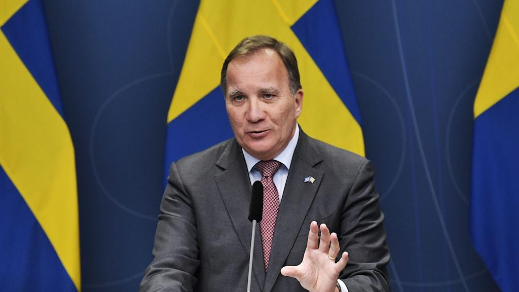 Statminister Stefan Löfven, Socialdemokraterna, under en pressträff.