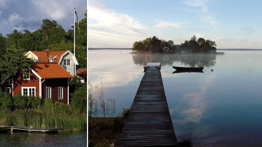 Hus i skärgården och en brygga och ö i skärgården