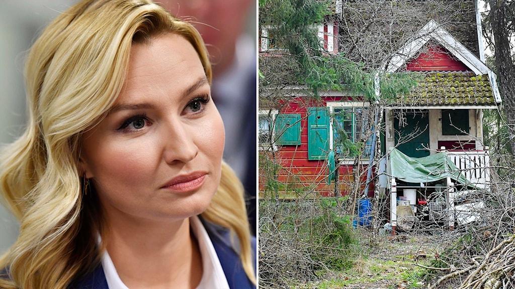 Ebba Busch och en bild på det hus som hon vill köpa