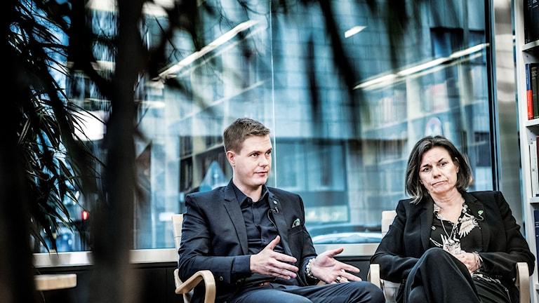 الرئيسان المشتركان لحزب البيئة، إيسابيلا لوفين وغوستاف فريدولين.