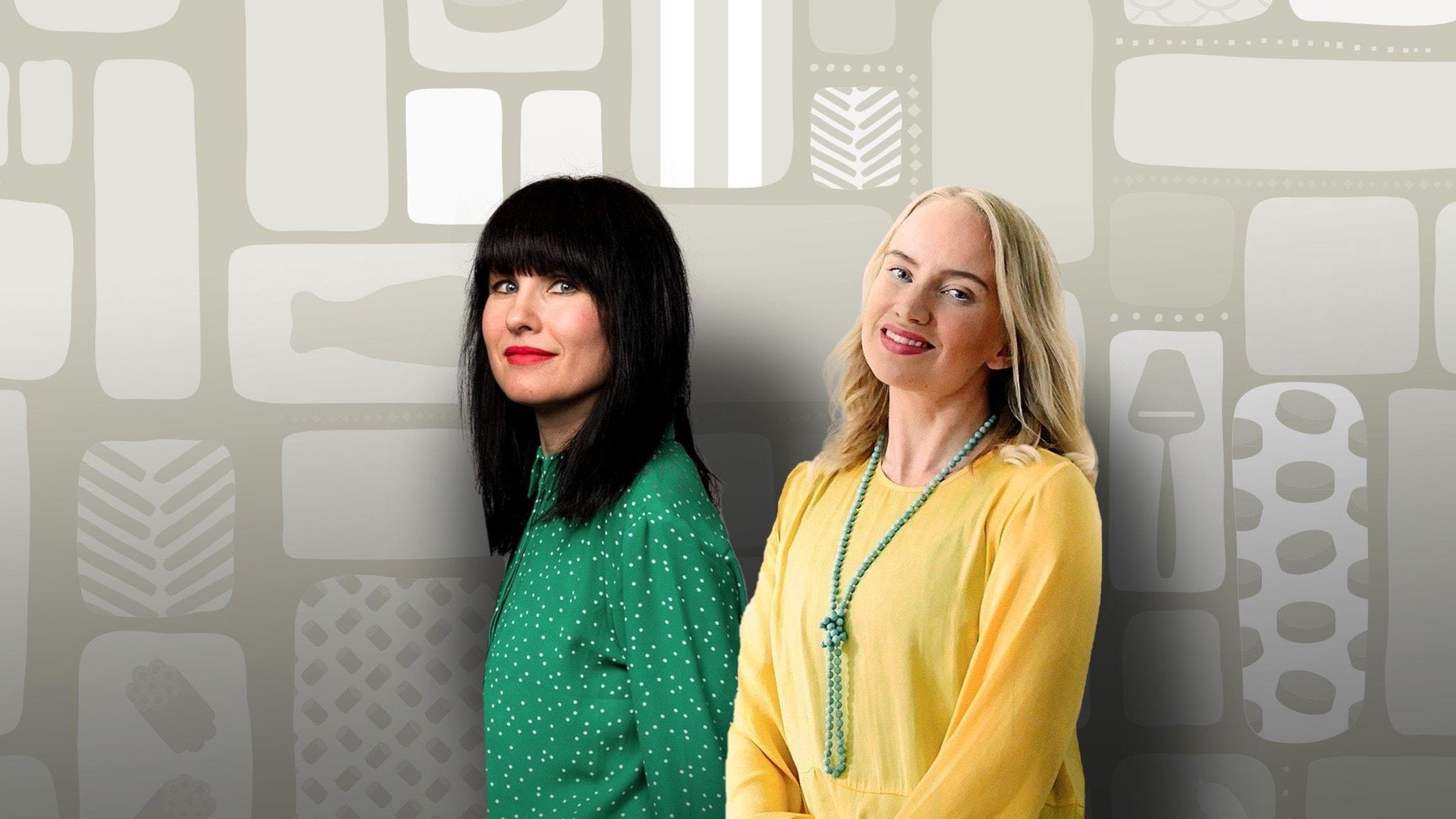 Programledarna Hanna och Tytti framför en dekorbakgrund.