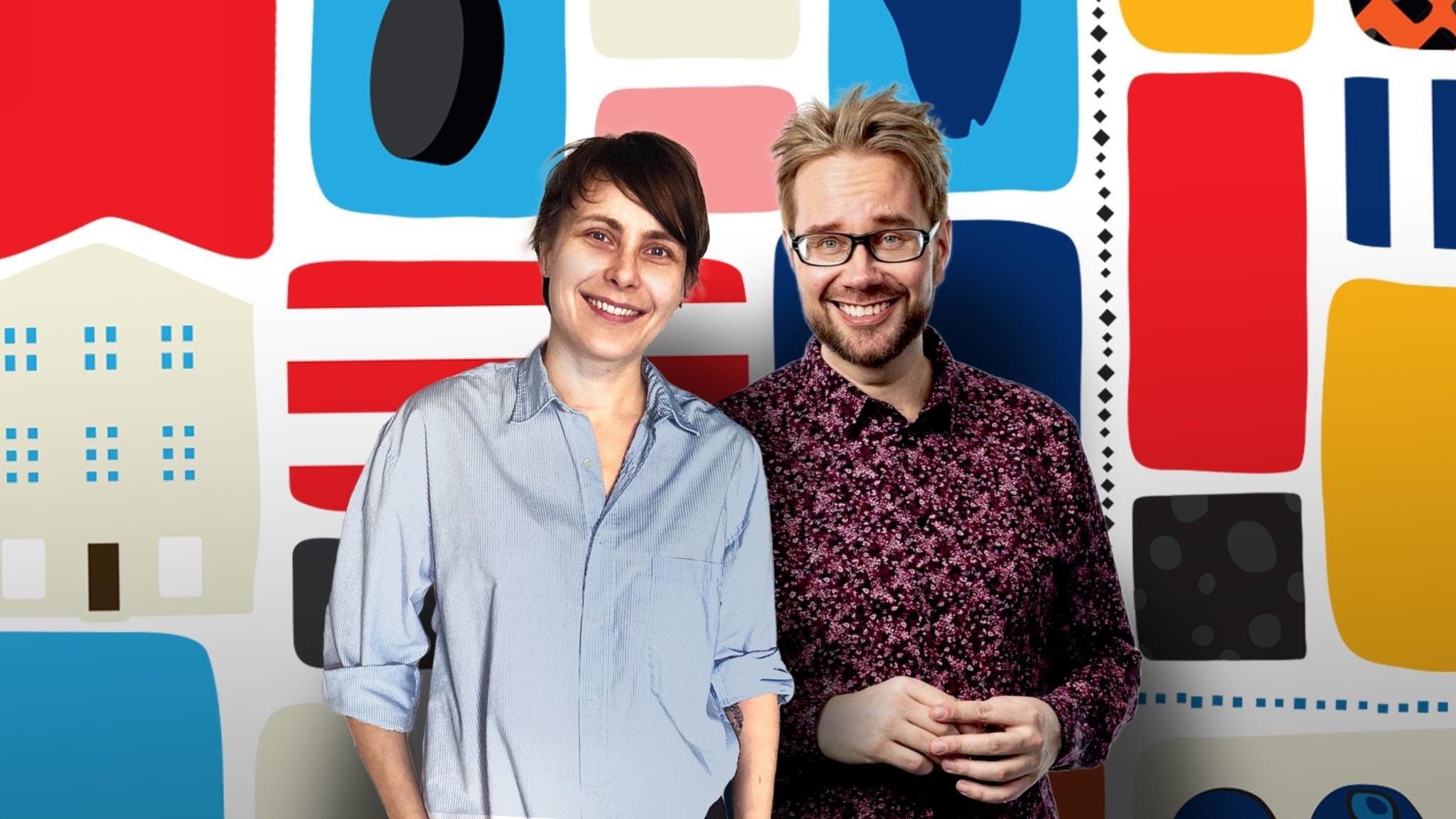 Programledarna Maiju och Erkki framför en färgglad dekorbakgrund.