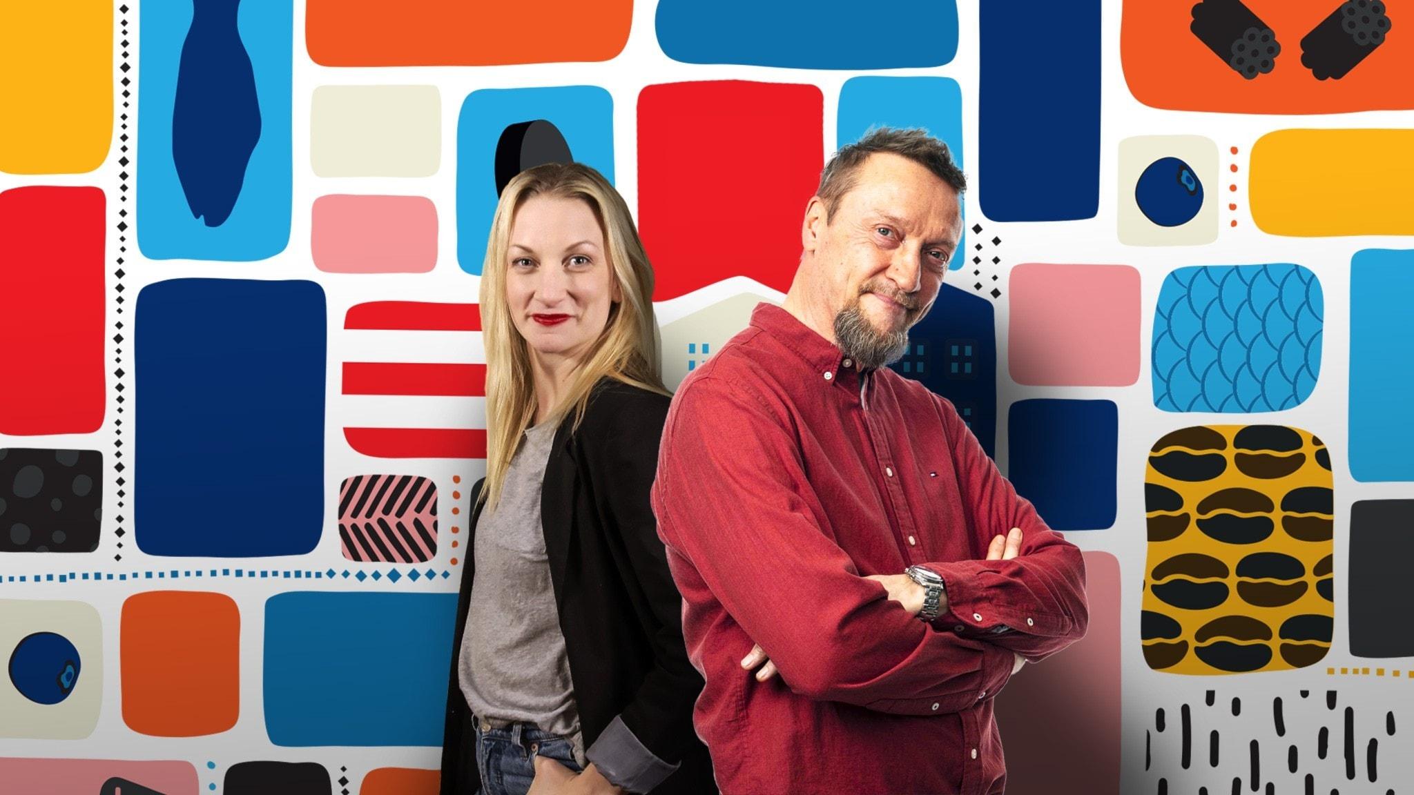 Programledarna Christer och Hanna framför en färgglad bakgrund.