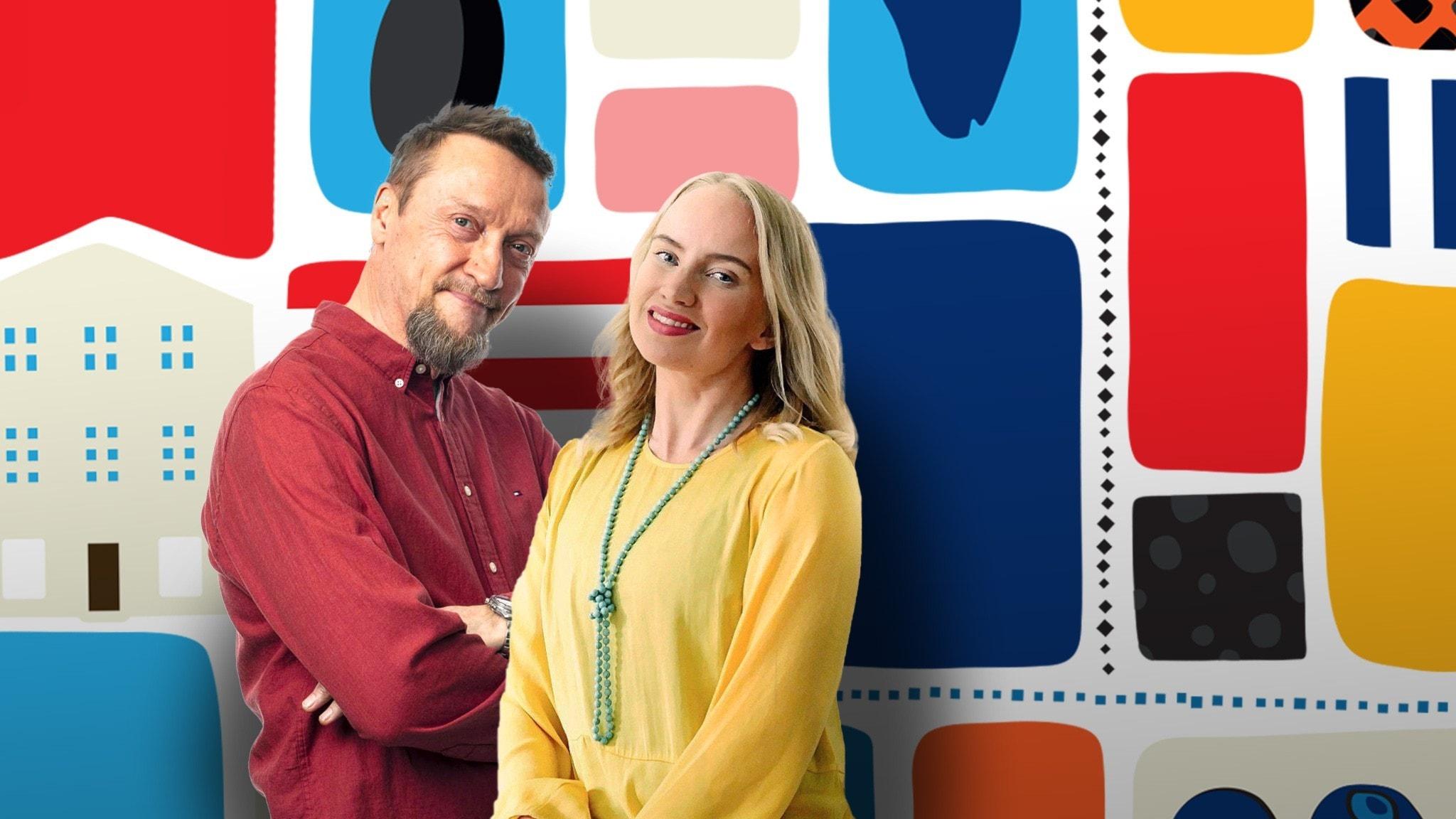 Programledarna Tytti och Christer framför en färggrann dekorbakgrund.