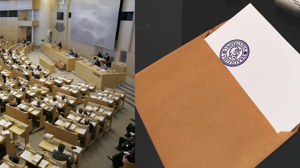 Kaksi kuvaa, toisessa Suomen eduskuntaistunnosta, toisessa äänestyskirje