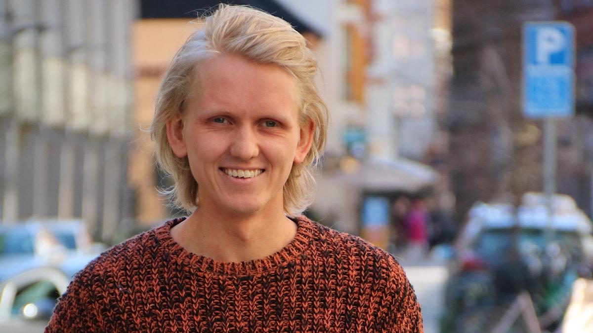Ilmastoaktivisti Axel Kaijalainen Malmössä.