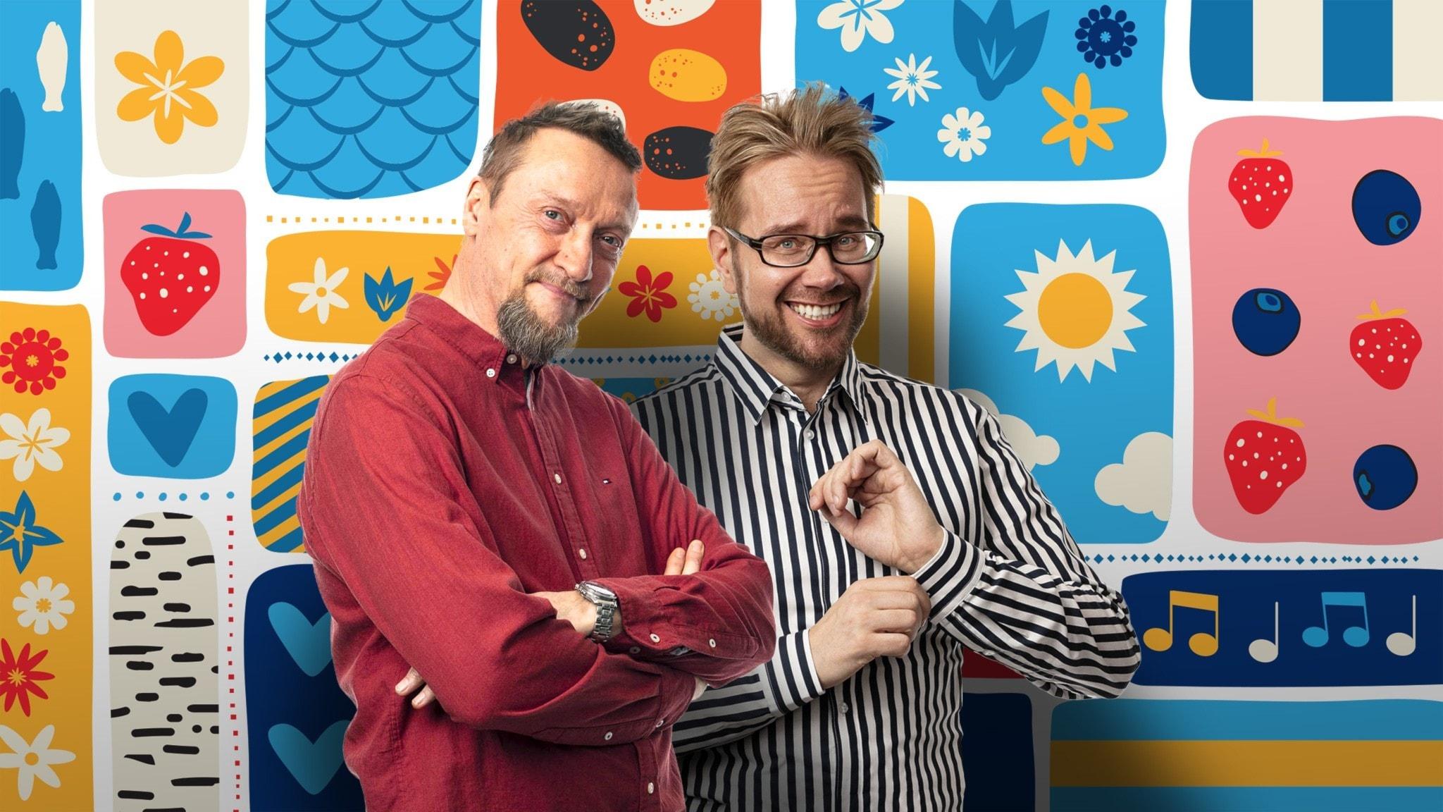 Programledarna Christer och Erkki framför en somrigt färggrann dekorbakgrund.