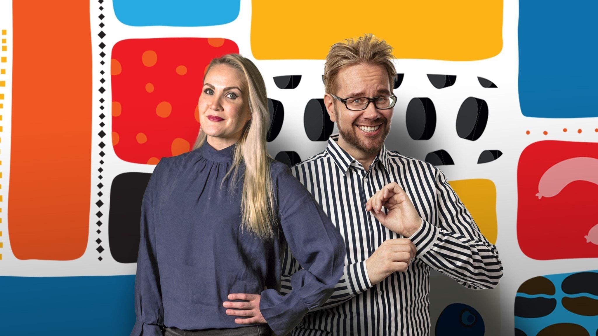 Morgonprogramledarna Erkki och Anne framför en färgglad dekorbakgrund.