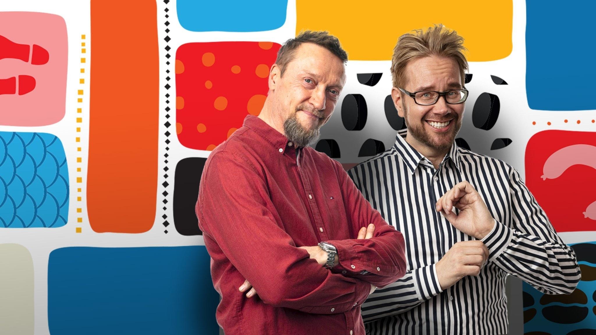 Programledarna Christer och Erkki framför en färgglad bakgrund.