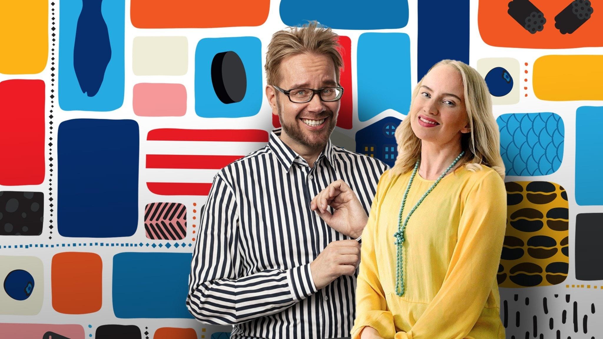 Programledarna Erkki och Tytti framför en färgglad bakgrund