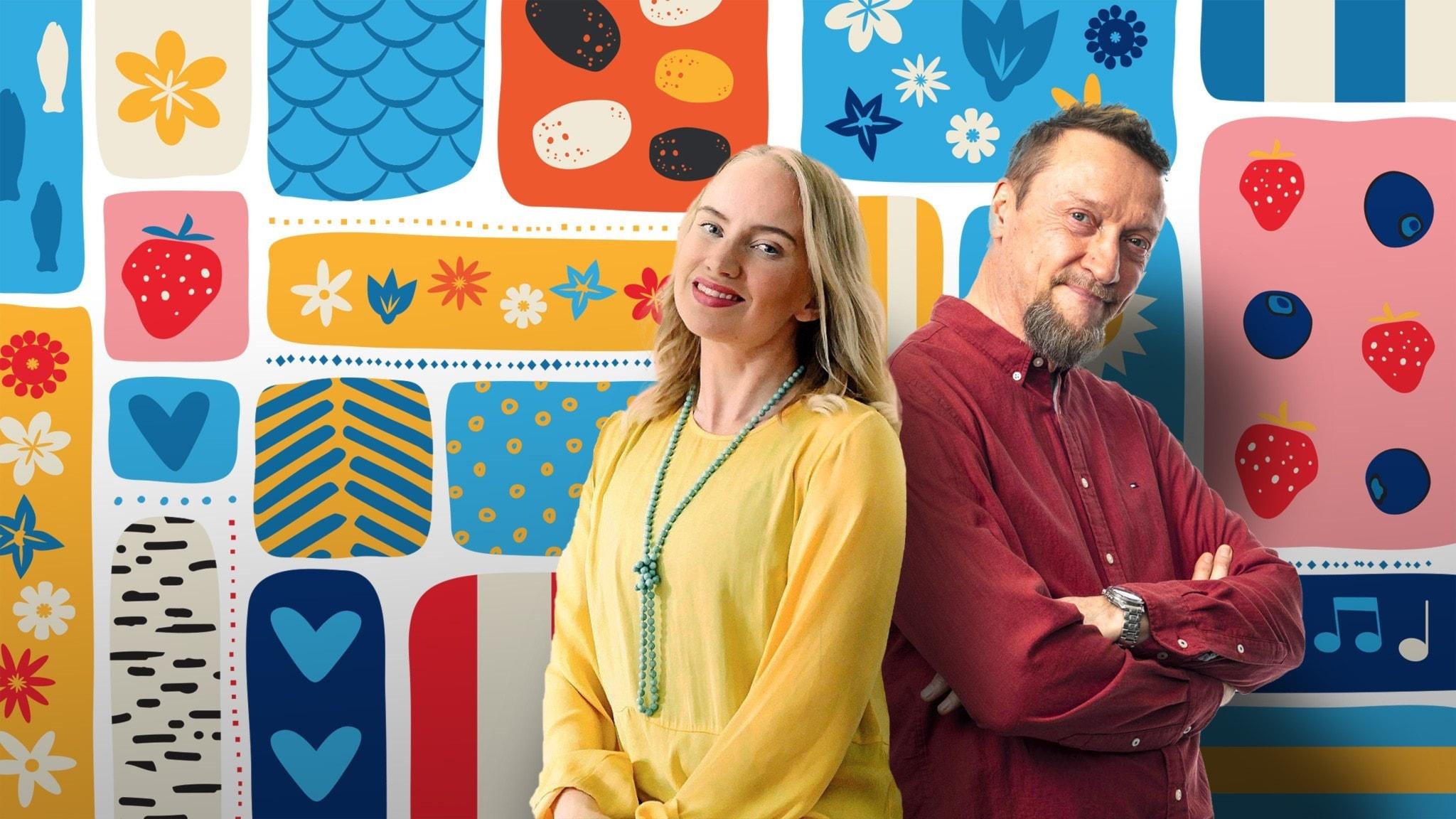 Programledarna Tytti och Christer framför en somrigt färggrann dekorbakgrund.