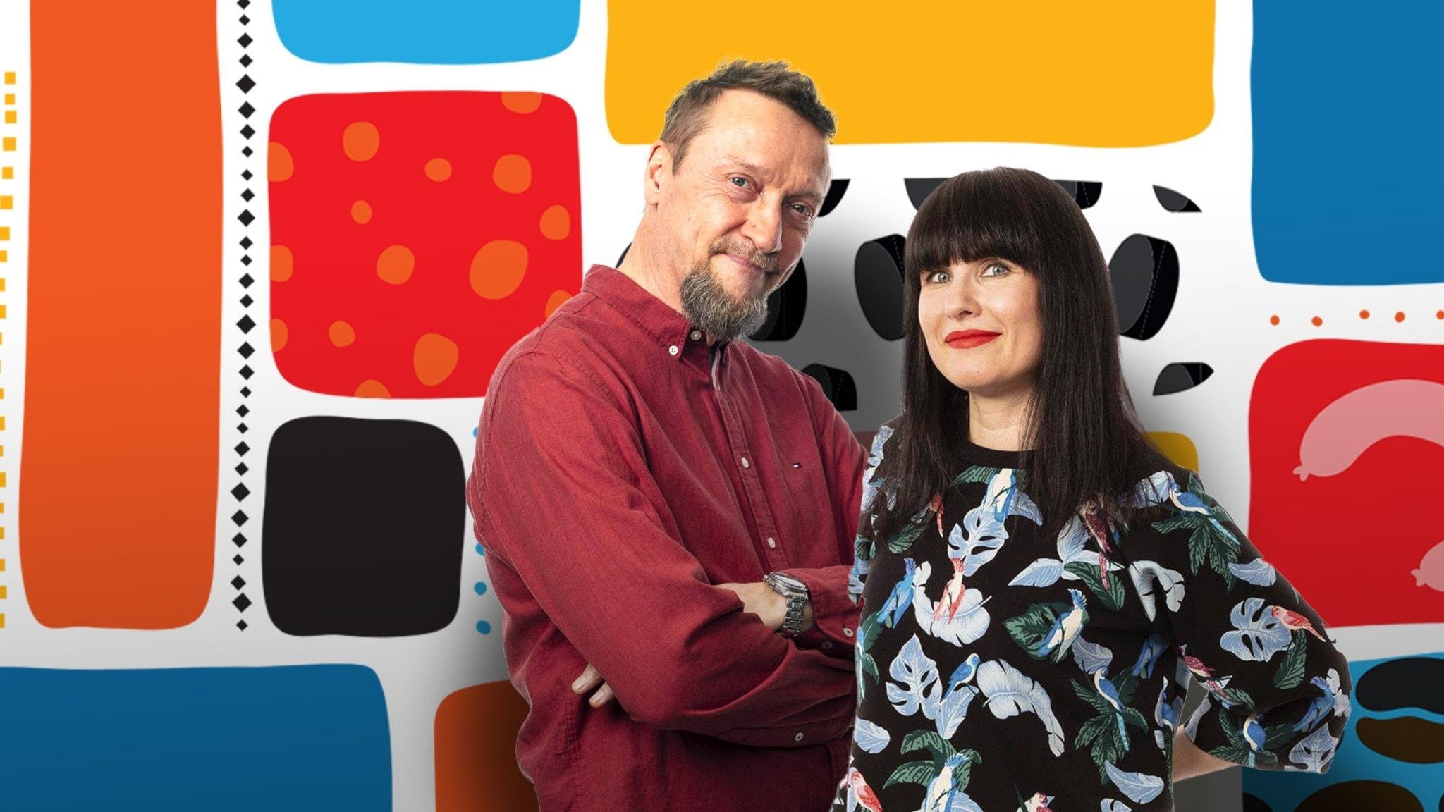 Programledarna Christer och Hanna framför en färggrann dekorbakgrund.
