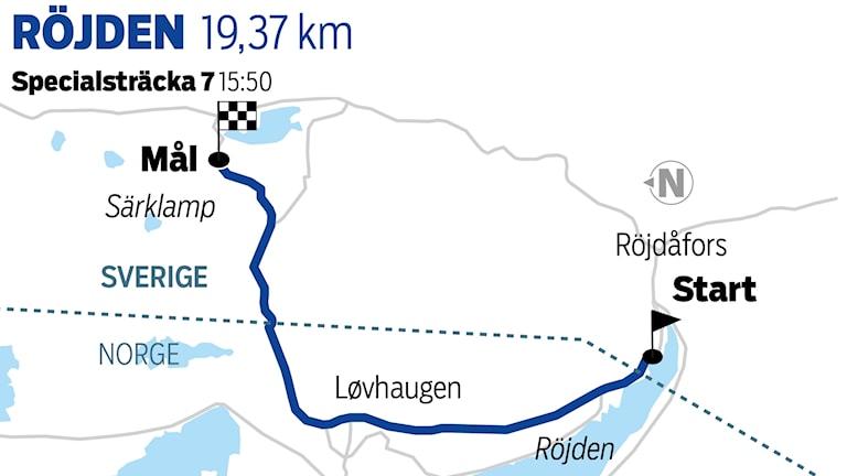Grafik Röjden specialsträcka 7 / TT Nyhetsbyrån