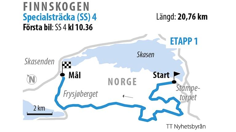 Grafik över SS 4 Finnskogen 1.