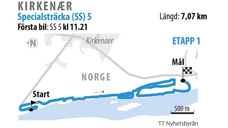 Grafik över SS 5 Kirkener 1.