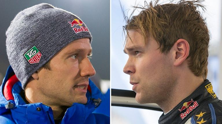 Sebastien Ogier och Andreas Mikkelsen. Foto: Micke Fransson/TT