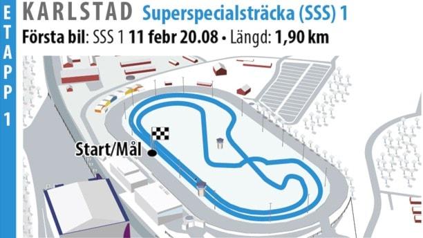 SS 1 Karlstad SSS 1 (Rallygrafik 2016). Grafik: Jonas Dagson/TT