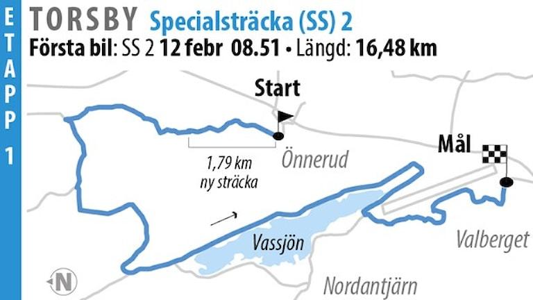 Svenska Rallyt SS 2 Torsby 1 (2016). Grafik: Jonas Dagson/TT